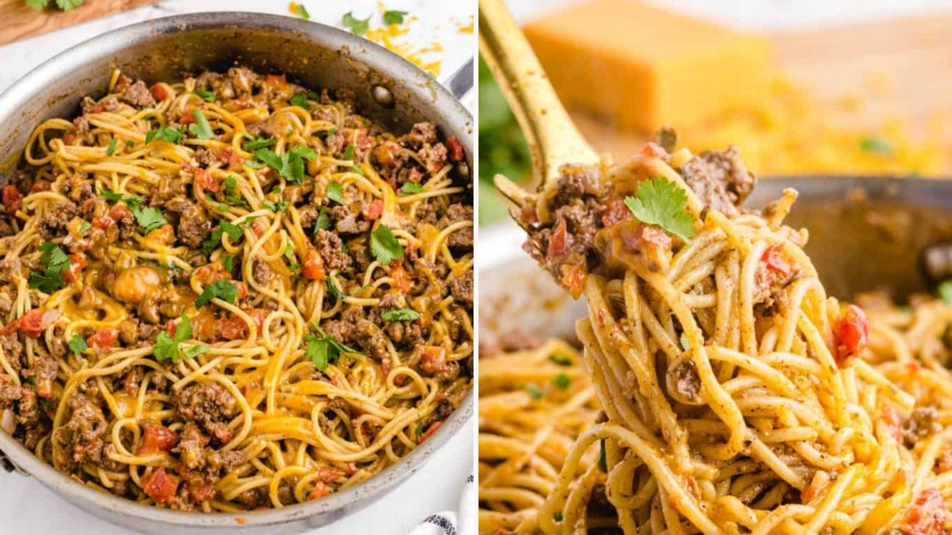 Two images of taco spaghetti. The left image is of a skillet filled with taco spaghetti and the right image is of a fork pulling up a large amount ready to eat.