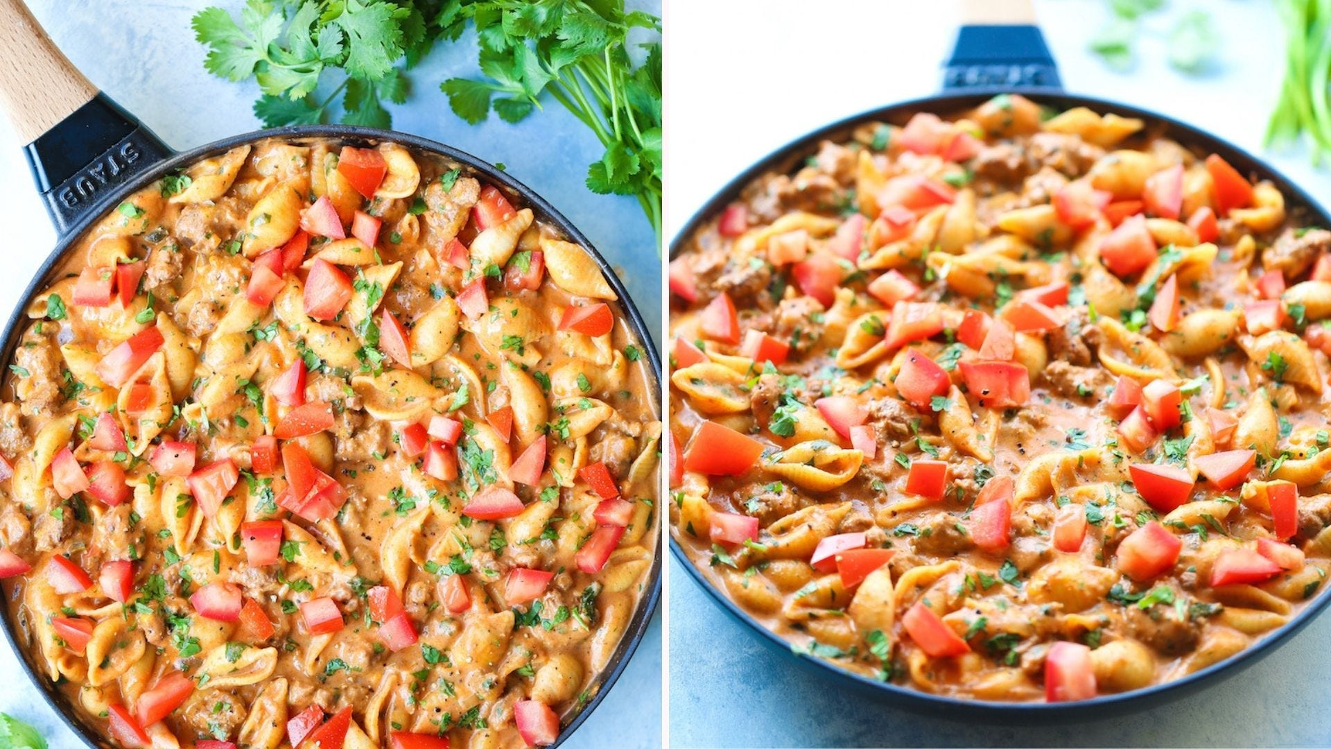 Two images of creamy taco shells pasta, in a staub skillet, with parsley on the side.