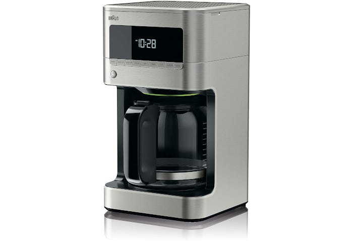 Stainless steel drip coffee maker with digital clock and nine-button interface