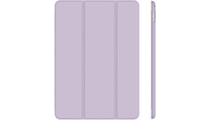 a light purple iPad case with vertical lines down the back