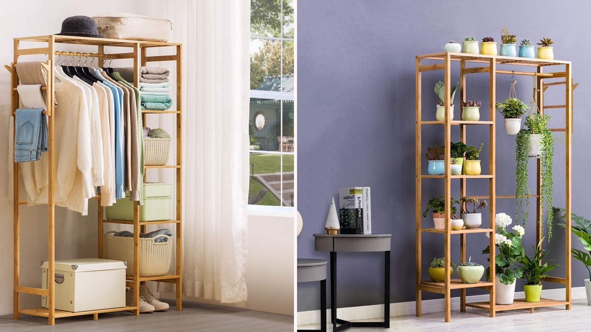 Images of a clothing rack filled with clothes and with plants.