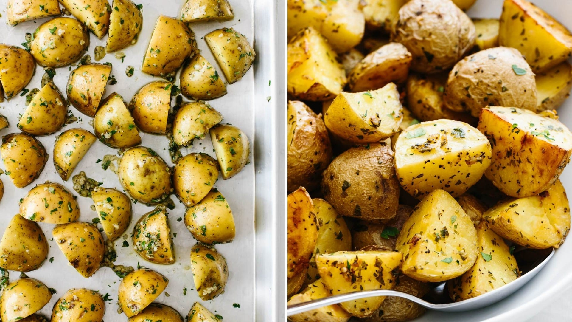 Roasted potatoes with herbs sit on a pan and in a bowl.