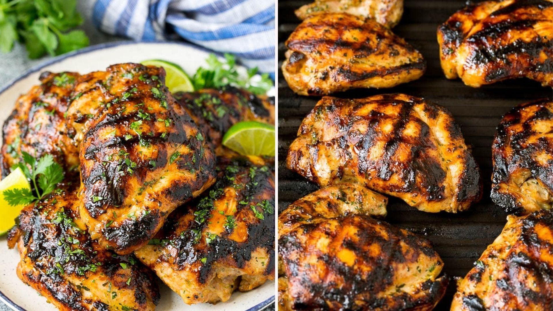 Grilled chicken thighs with a cilantro lime coating.