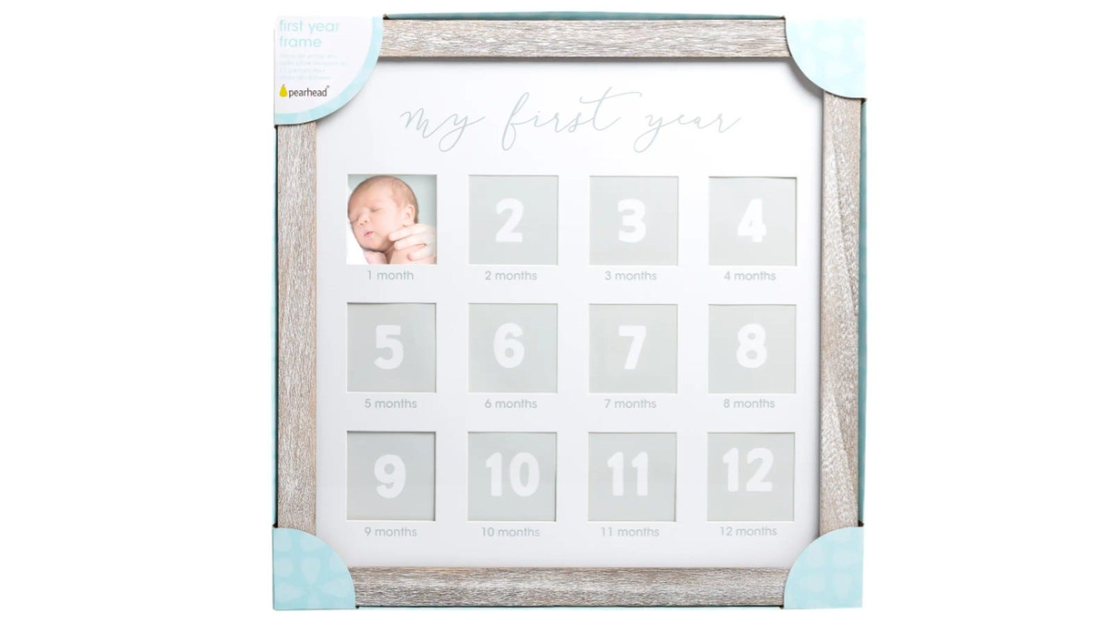wood frame with 12 photo spaces inside