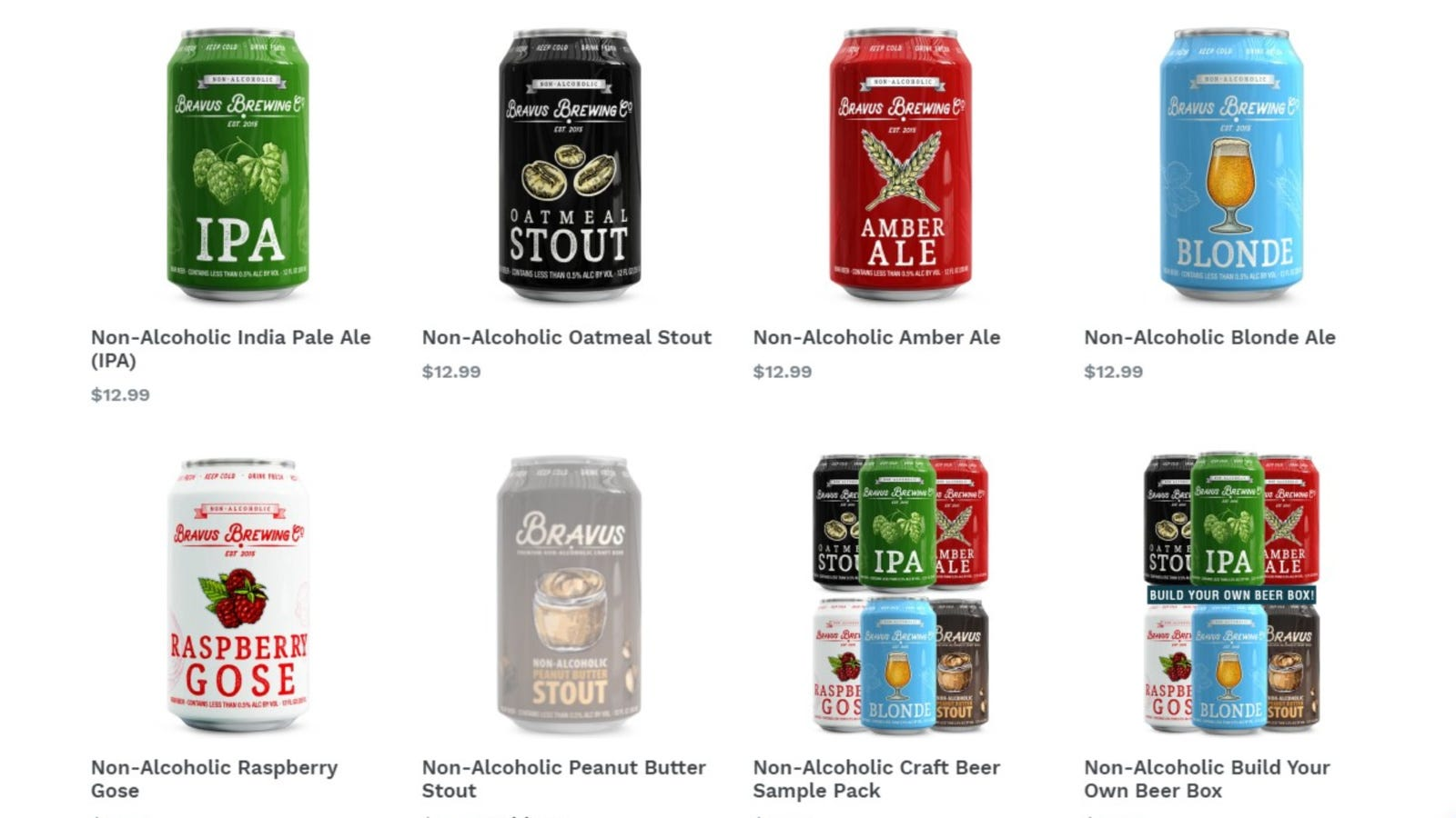Multiple Bravus non-alcoholic beer selections to purchase from including their IPA, oatmeal stout, amber ale, blonde ale and more.