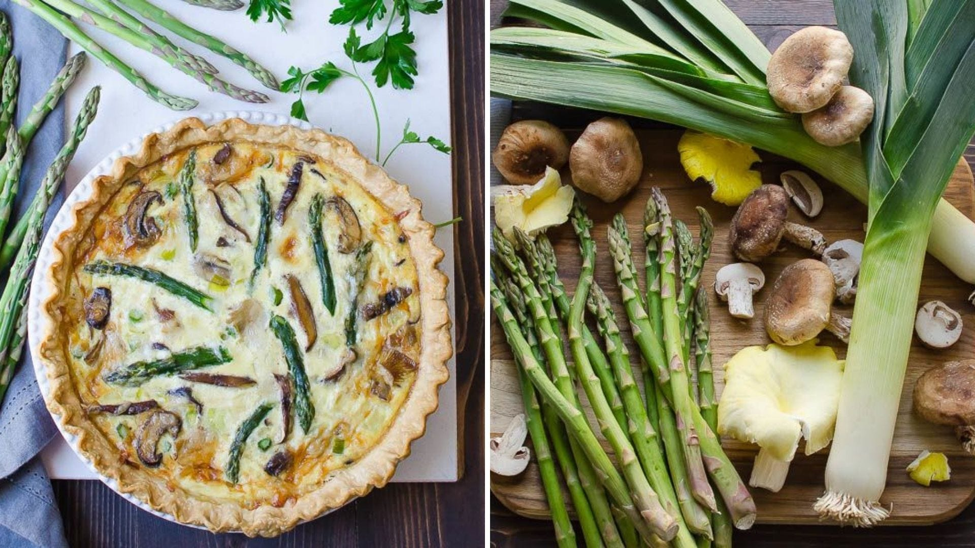 A quiche with asparagus and mushrooms, and a cutting board covered with produce.