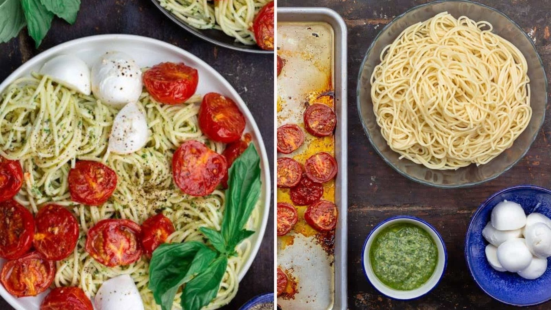 Pesto Pasta with Tomatoes and Mozzarella on a plate and the ingredients lying out on a table.