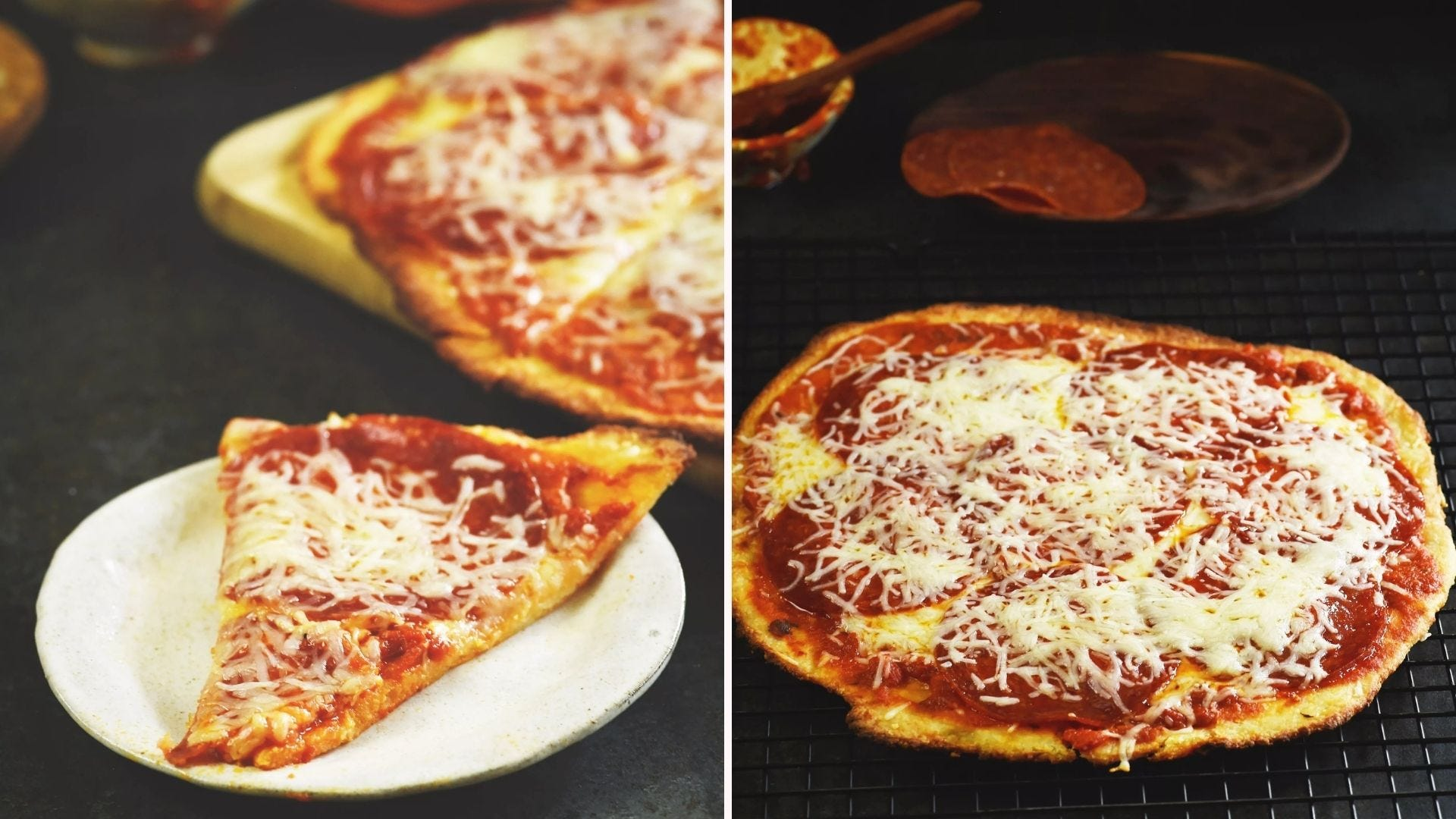 Two images of keto-friendly low-carb pizza. The left image is of an individual slice and the right image is of a whole pizza.