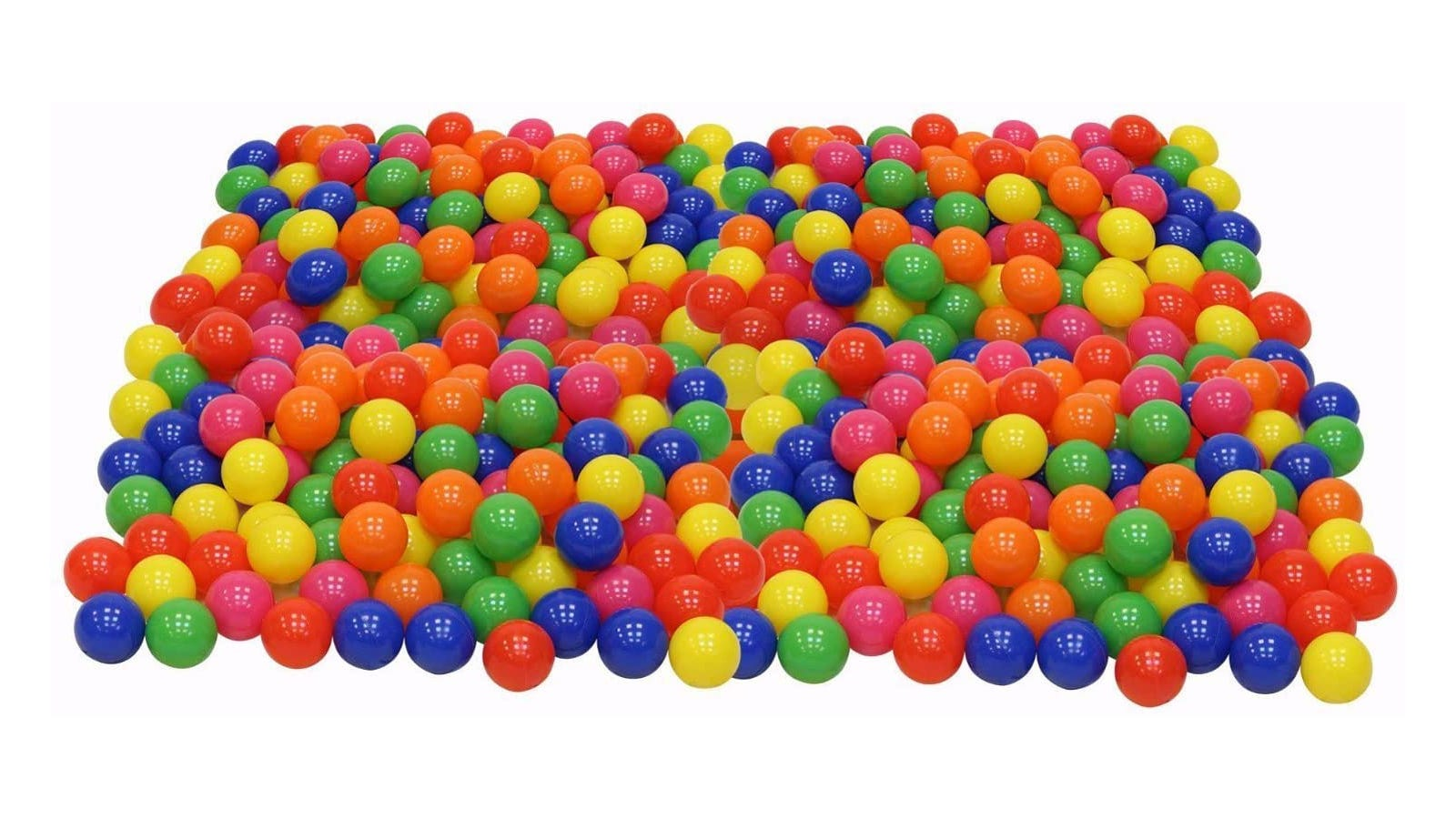 large pile of yellow, green, blue, orange, red, and pink plastic balls
