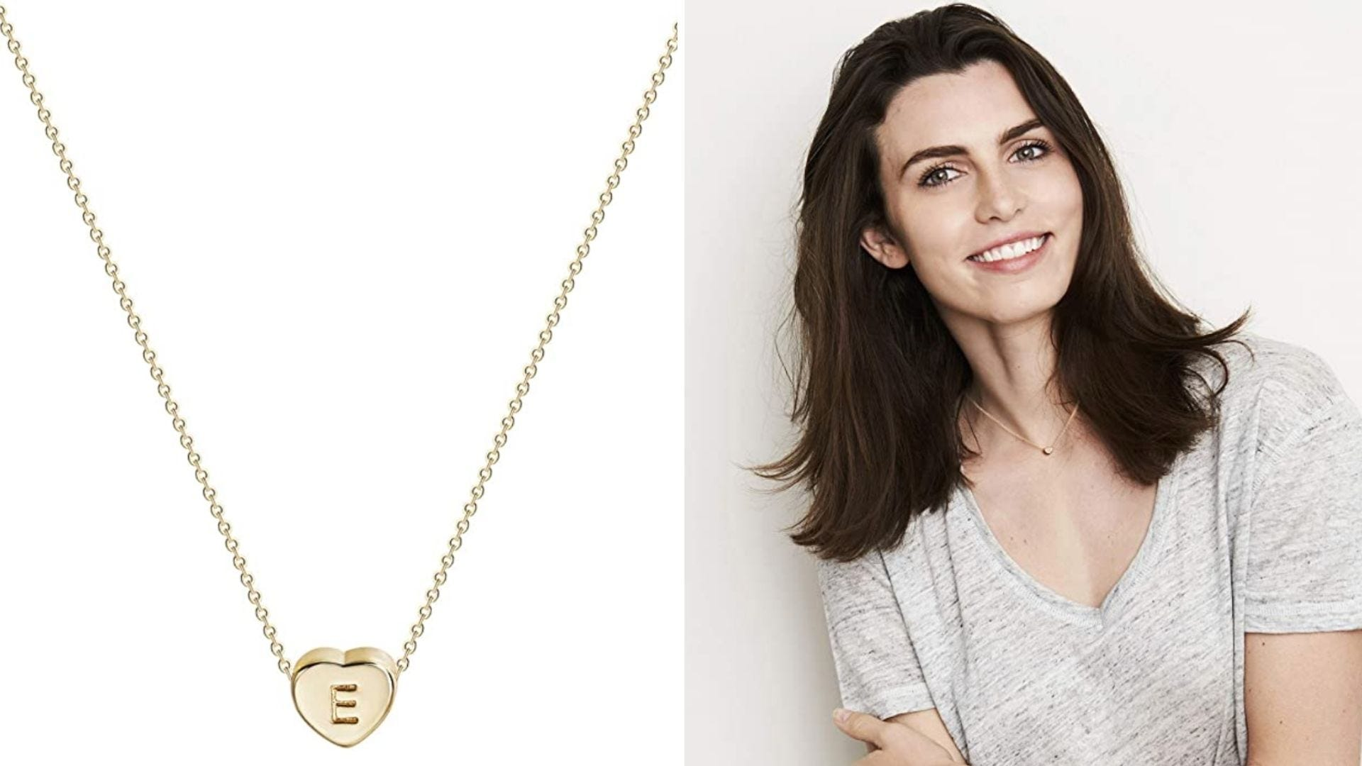 A gold heart necklace. A woman wear the necklace and smiles at the camera.