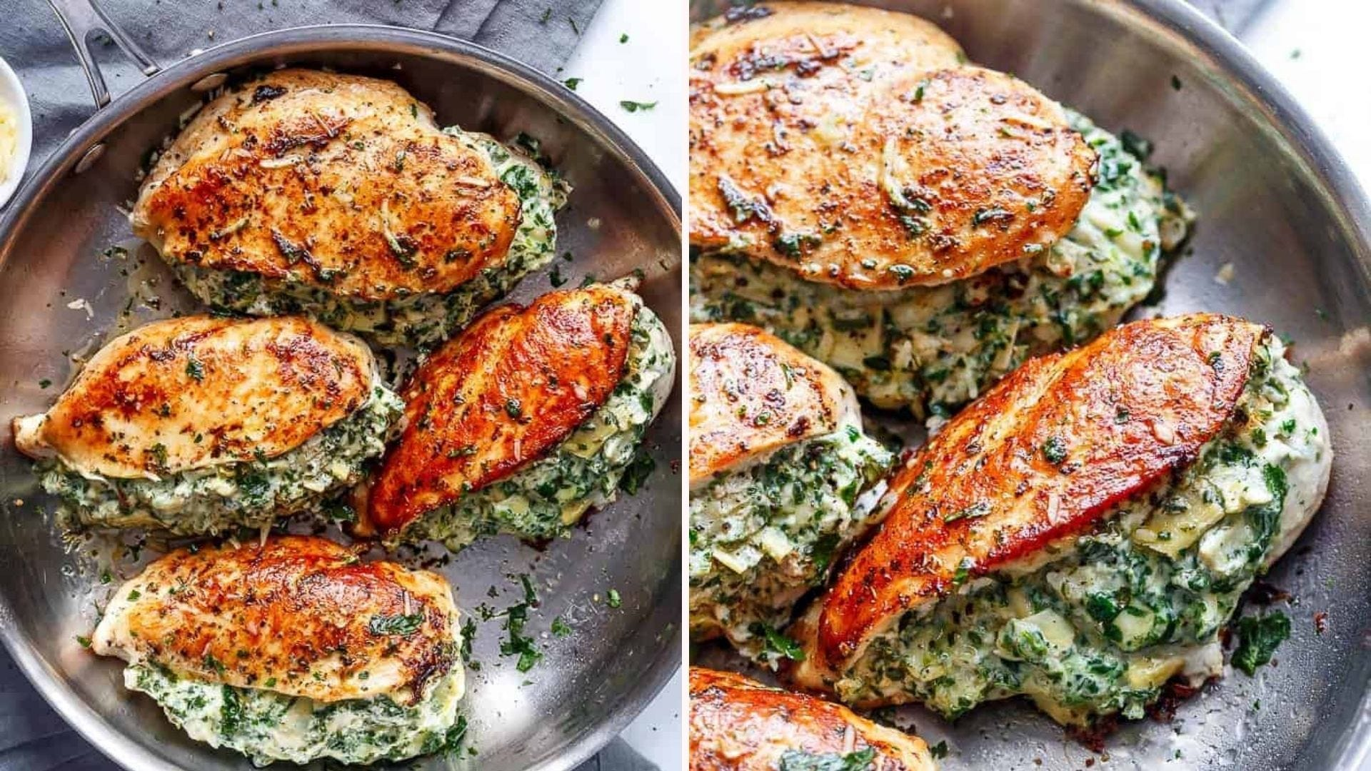 Two images of chicken stuffed with spinach and artichoke in a skillet.