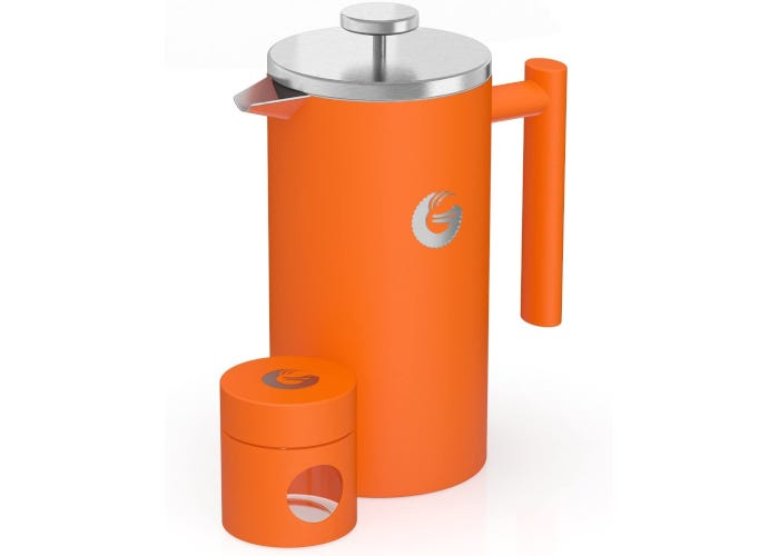 Bright orange stainless steel French press coffee maker with silver-colored lid and plunger next to matching orange travel bean cannister