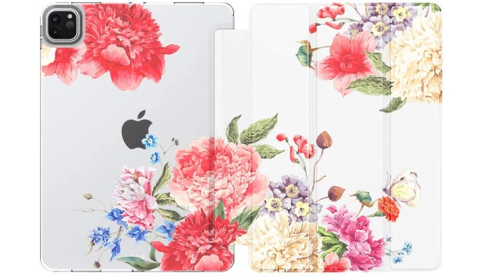 an open white iPad case with floral design on it