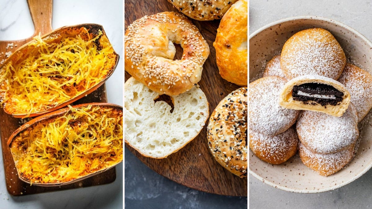 Spaghetti squash by Everyday Family Cooking, air-fried bagels by Gimme Delicious, and air-fried Oreo cookies by I am a Food Blog.