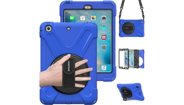 A blue iPad case with a velcro hand strap on the back and other accessories