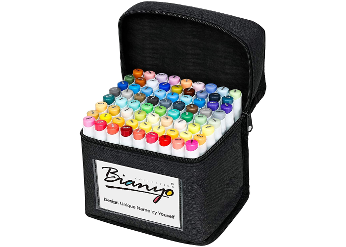 A pack of 72 fabric markers in a canvas case that basis Bianyo on it.