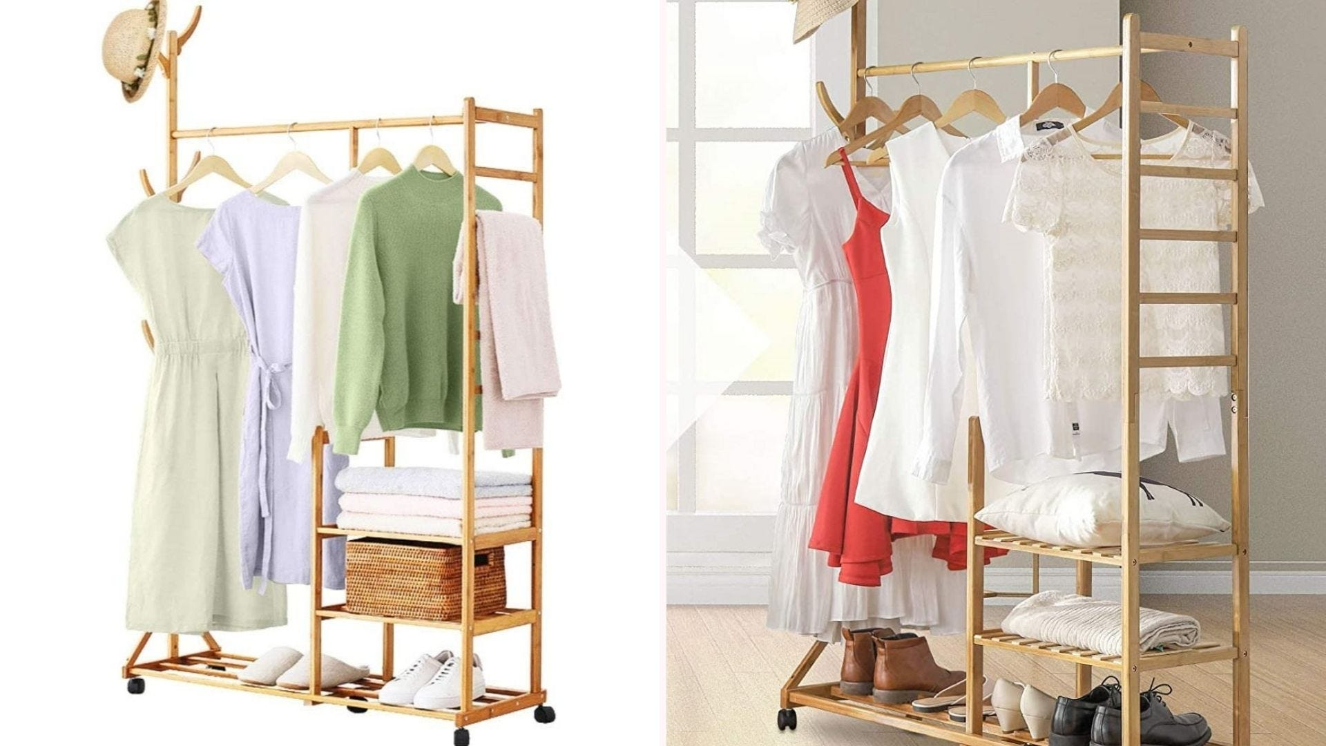 Bamboo rack with clothing and a hat.