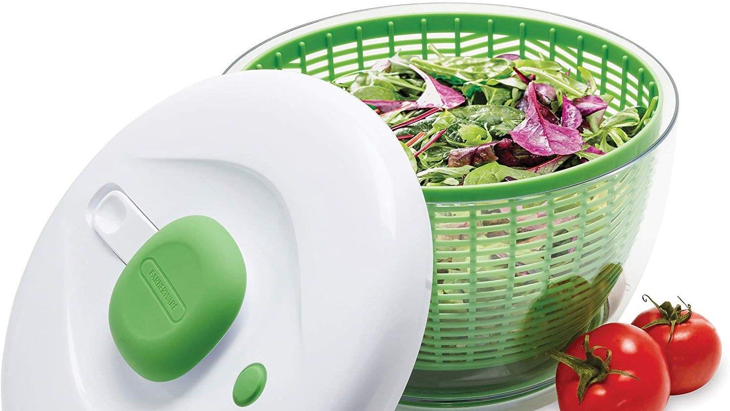 Salad spinner with lettuce inside.