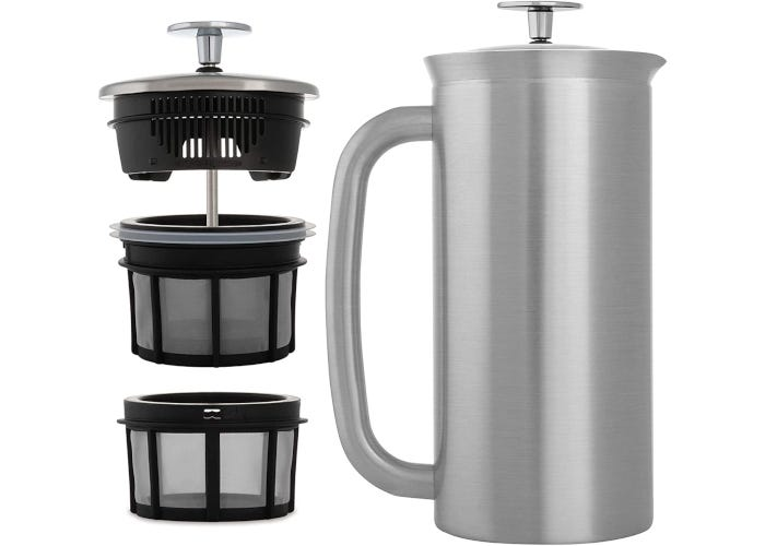 Silver-colored stainless steel French press coffee maker with large stainless steel handle and triple layered filter.