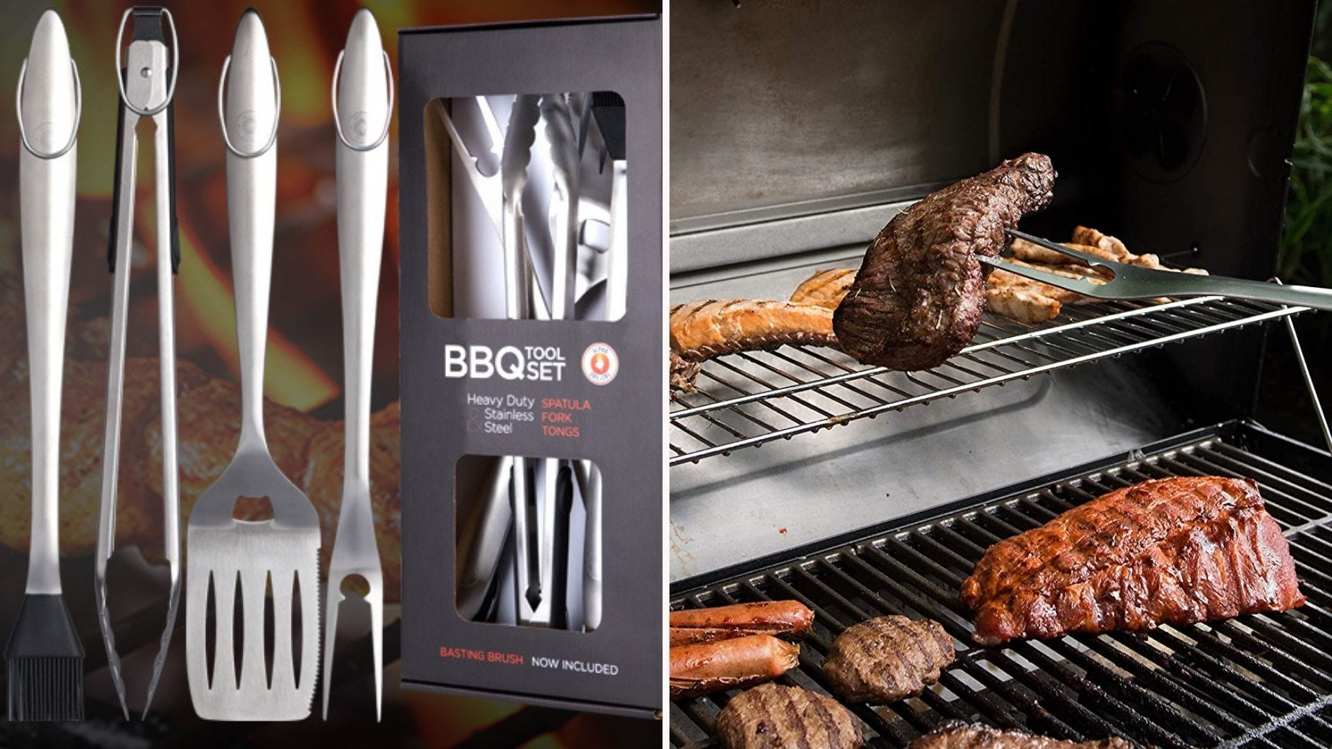 Two side by side images: The left image is of an Alpha Grillers BBQ tool set and the right image is of someone using the grill fork to hold a new york strip steak.