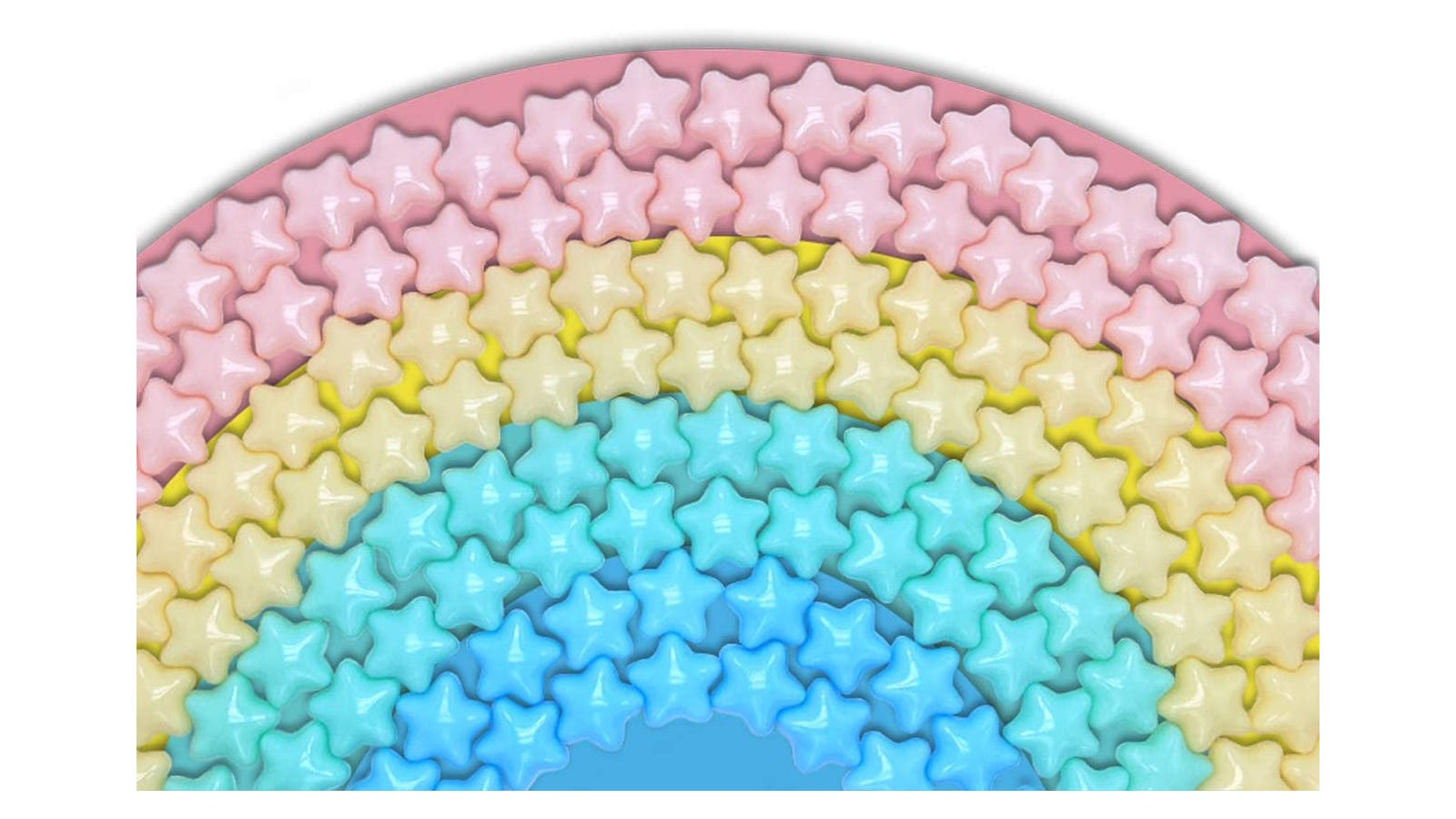 pile of pink, yellow, and blue plastic star-shaped balls