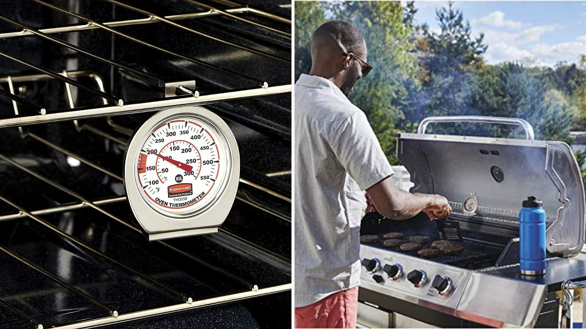 Two side by side images displaying a Rubbermaid grill thermometer. The left image is of the thermometer in an oven and the right image is of a male grilling burgers, with the thermometer displayed on the warming tray.