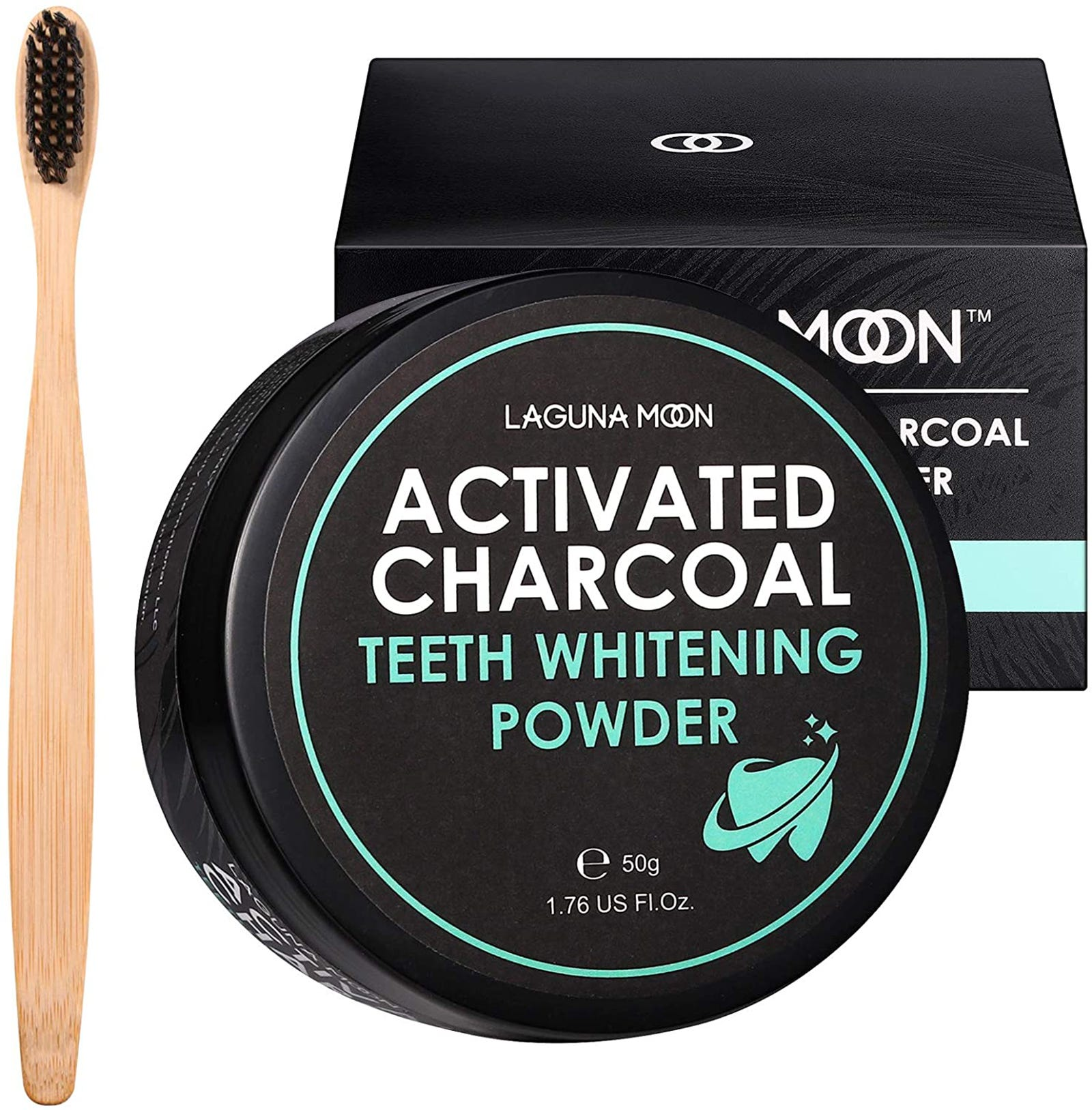 Laguna Moon's activated charcoal powder box and bamboo toothbrush.