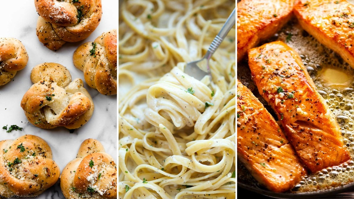 A tri-fold of garlic knots, someone twirling pasta on a fork, and salmon sitting in butter.