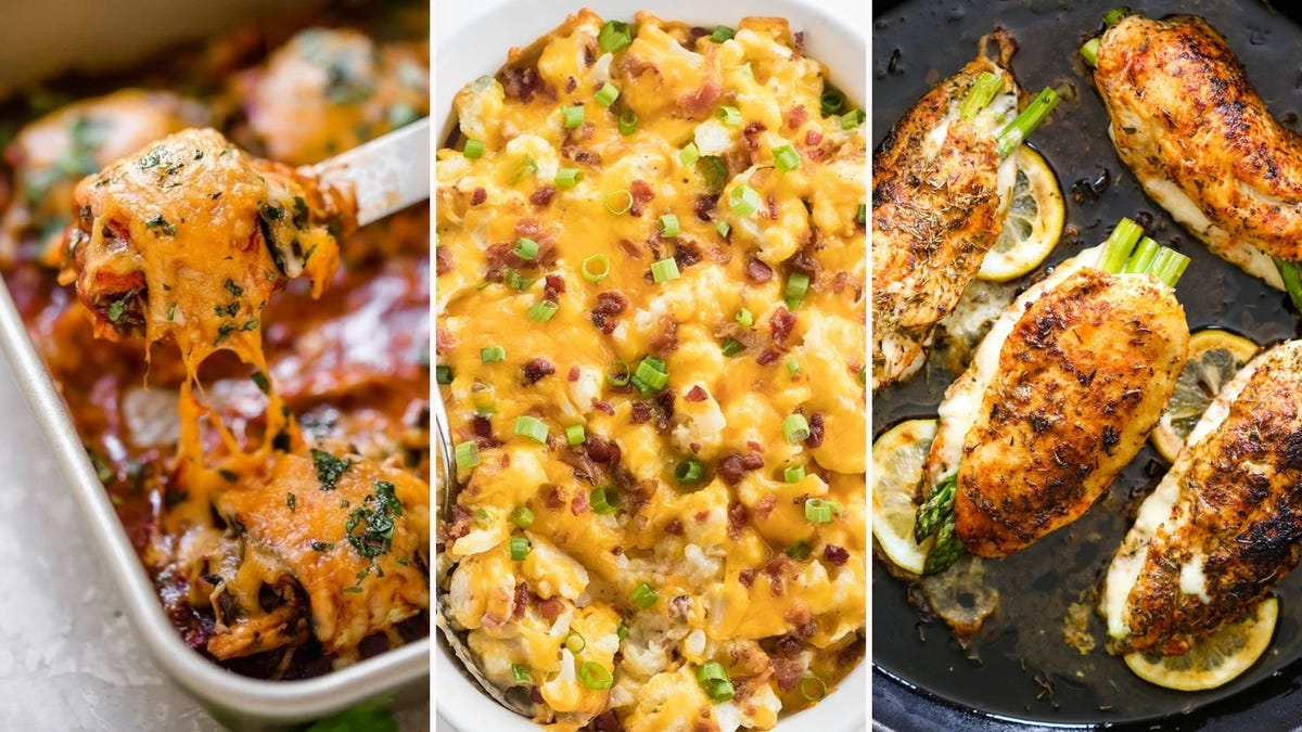 Three images of meals from the article below. The left image is of chicken enchiladas by SkinnyTaste, the middle image is of loaded cauliflower casserole by Wholesome Yum, and the right image is of cheese and asparagus stuffed chicken by Gimme Delicious.