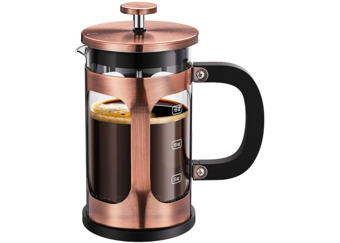 Glass French press coffee maker with copper-colored stainless steel jacket and lid