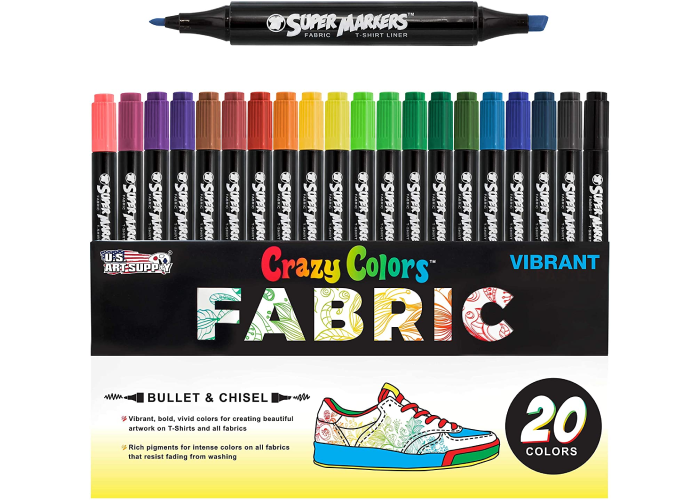 A set of 20 color fabric markers depicting they can be drawn on a shoe and have two tip sizes, one bullet and one chisel.