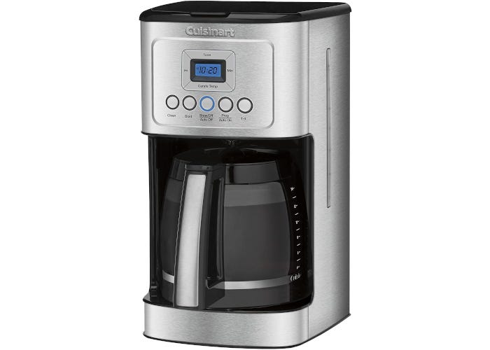 Silver stainless steel drip coffee maker with black accents and large carafe and nine-button interface
