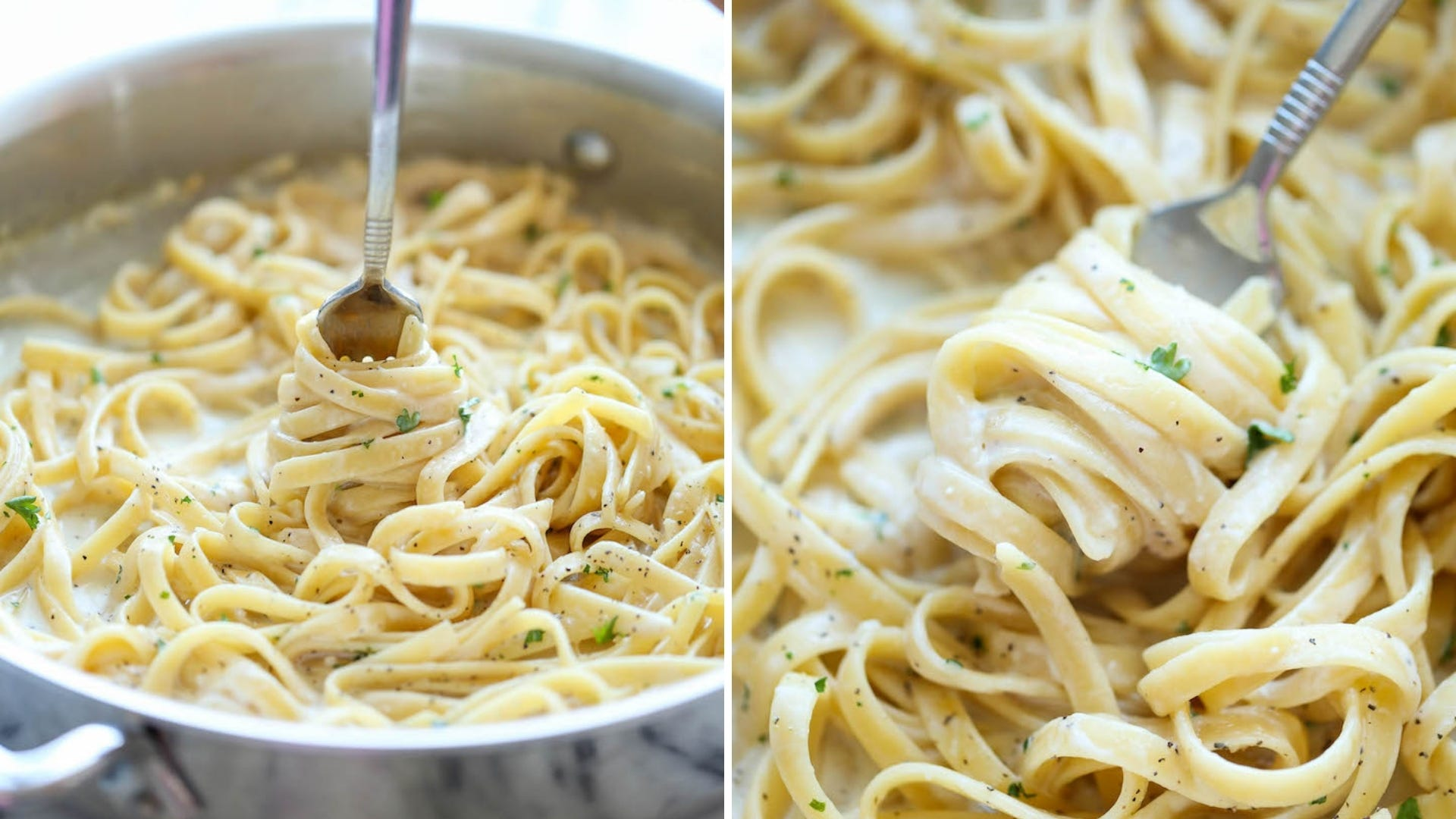 Someone twirls creamy pasta with a fork in a pan and on a plate.