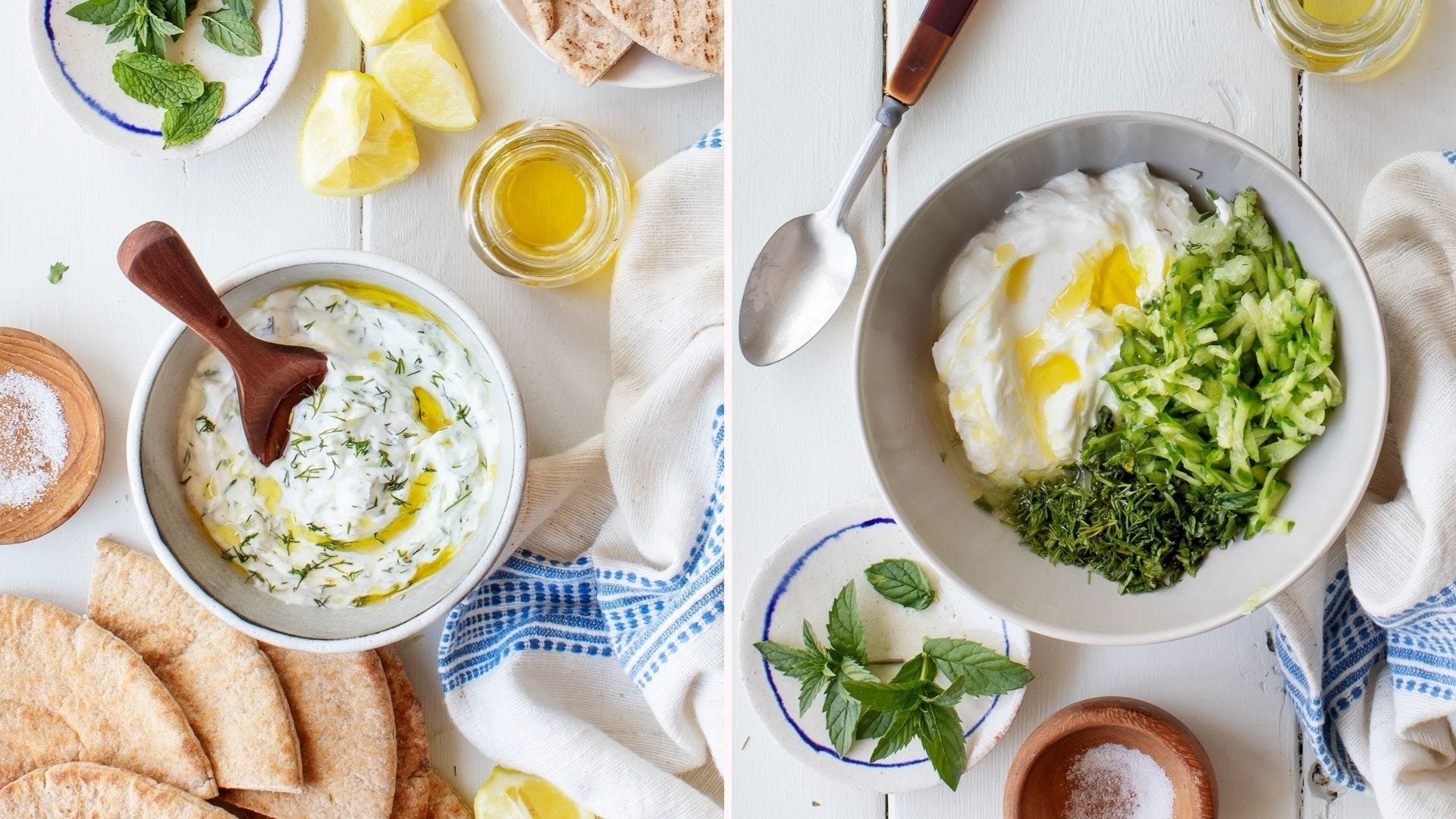 Two images: The left image is of a freshly made bowl of homemade tzatziki sauce surrounded by various ingredients like lemon wedges, olive oil, pita bread and milk leaves. The right image is of a bowl of ingredients to make tzatziki sauce, ready to be mixed.