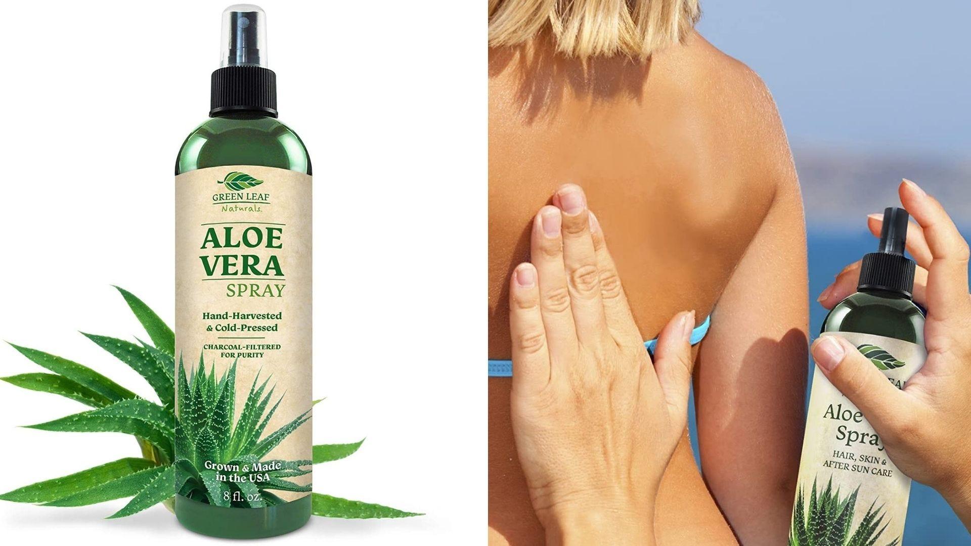 A bottle of aloe vera spray. Someone sprays a woman's back.