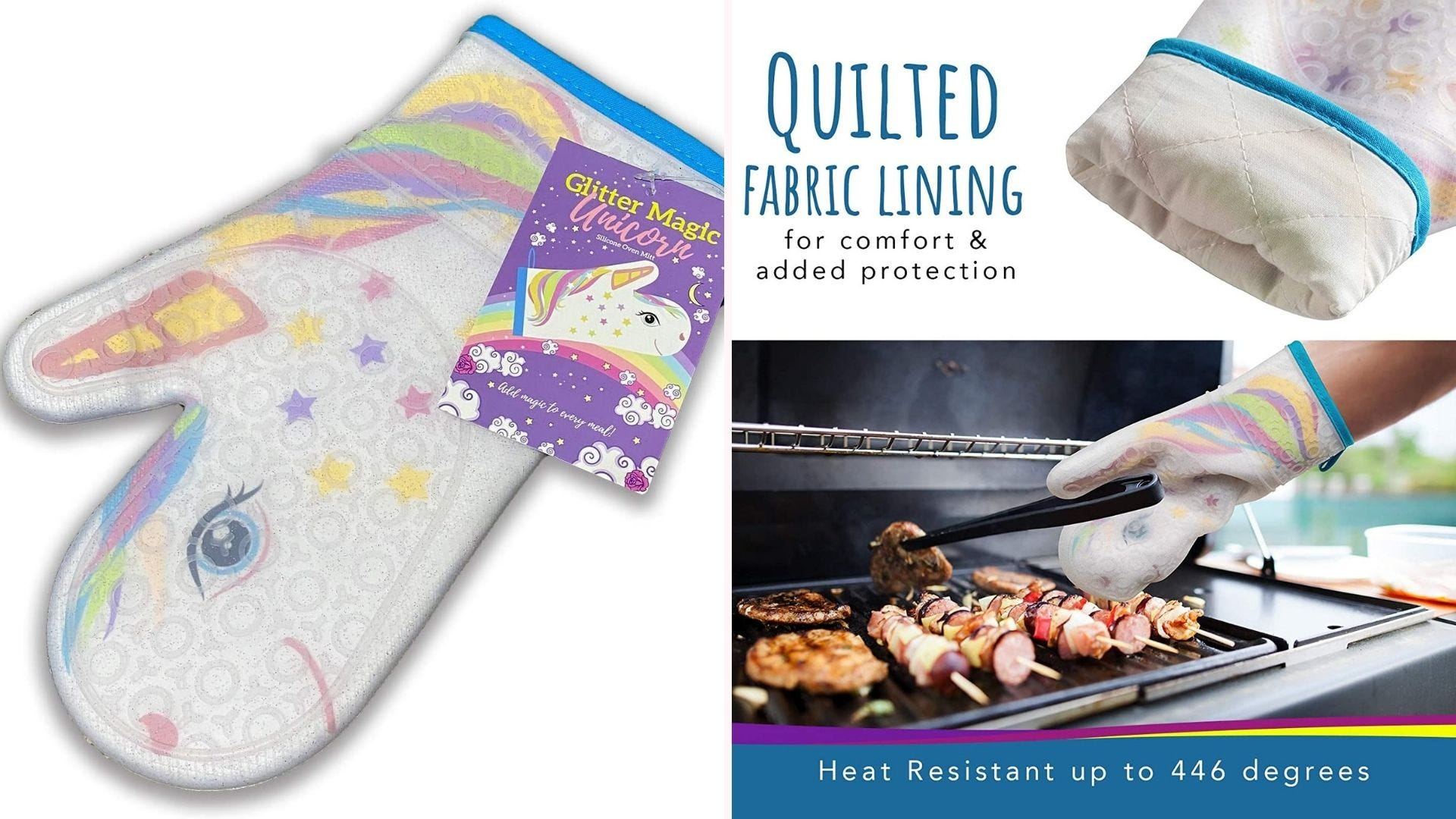 A unicorn oven mitt being used at the grill.