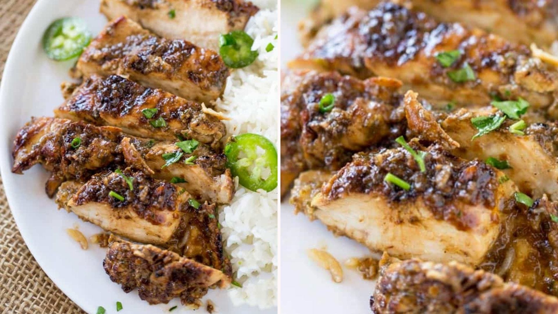 Two images of grilled jerk chicken, topped with parsley, and sliced jalapeno.