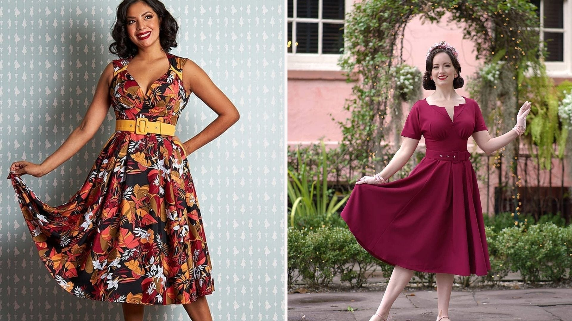 A woman in a belted orange and red floral dress; a woman in a berry-colored swing dress