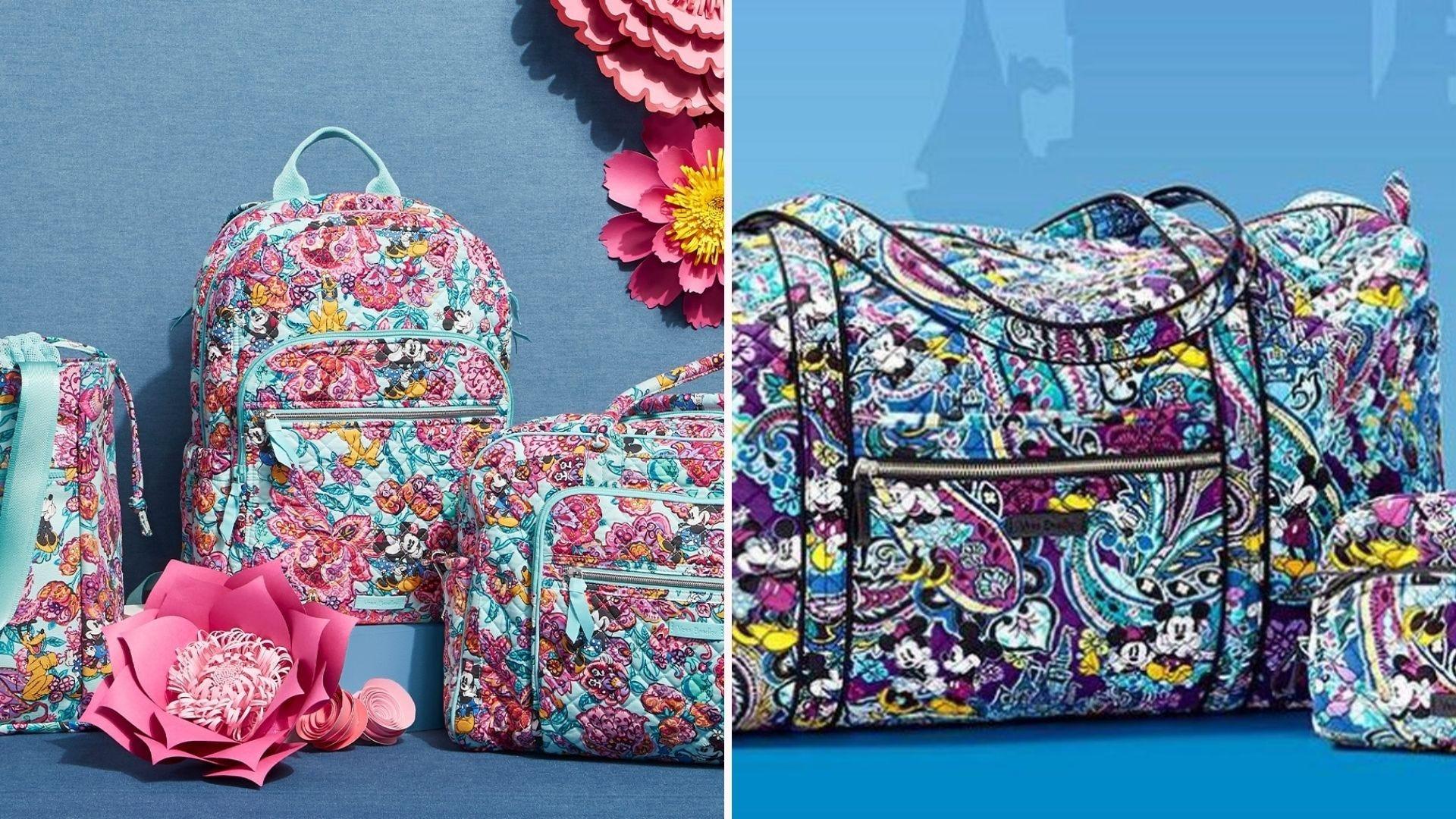 A set of pink and blue Disney-print backpacks; a blue-and-purple Disney print duffel
