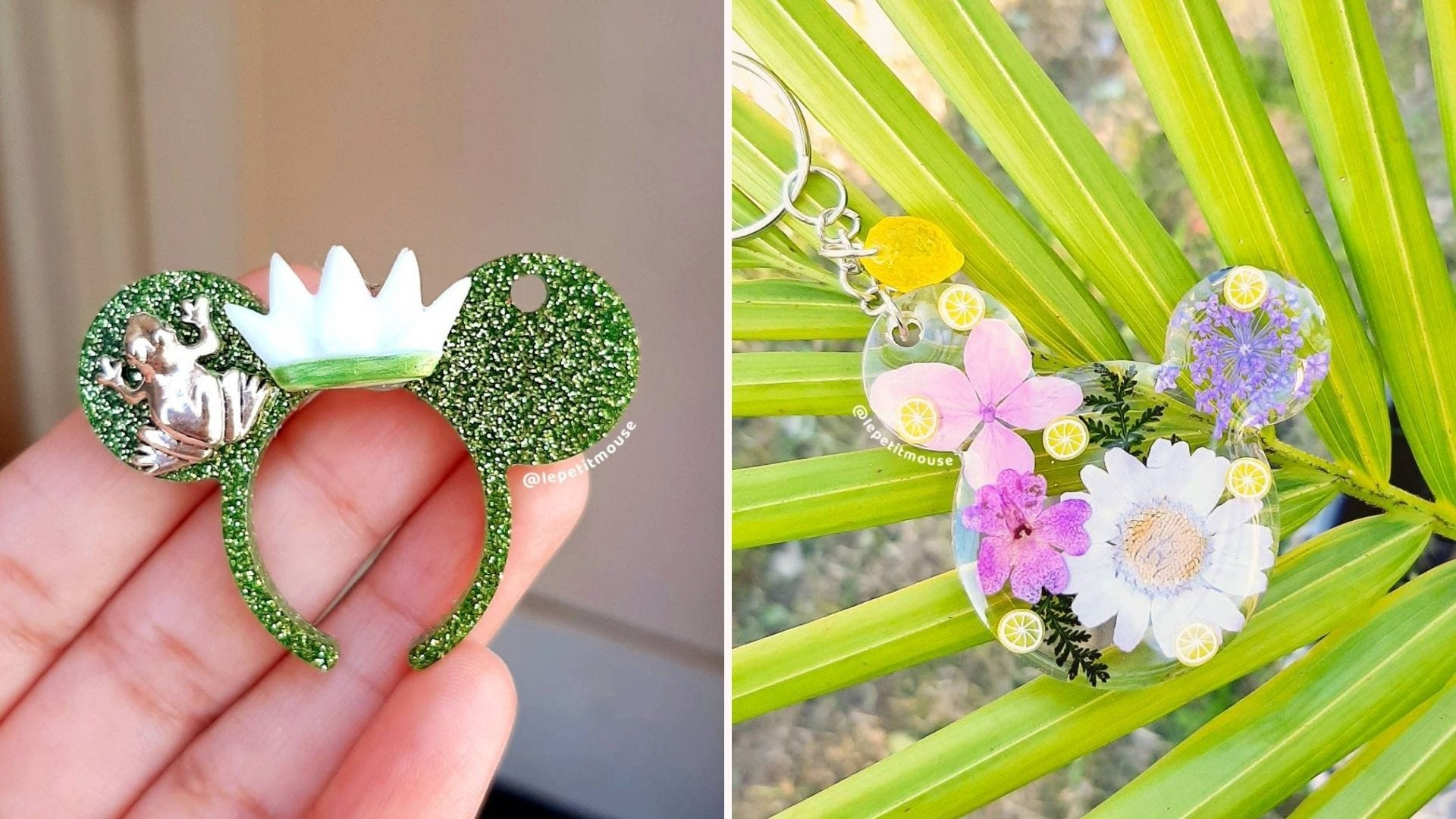 """A small green sparkly """"Mickey ears"""" with a crown and frog; a clear Mickey ears keychain with flowers inside"""