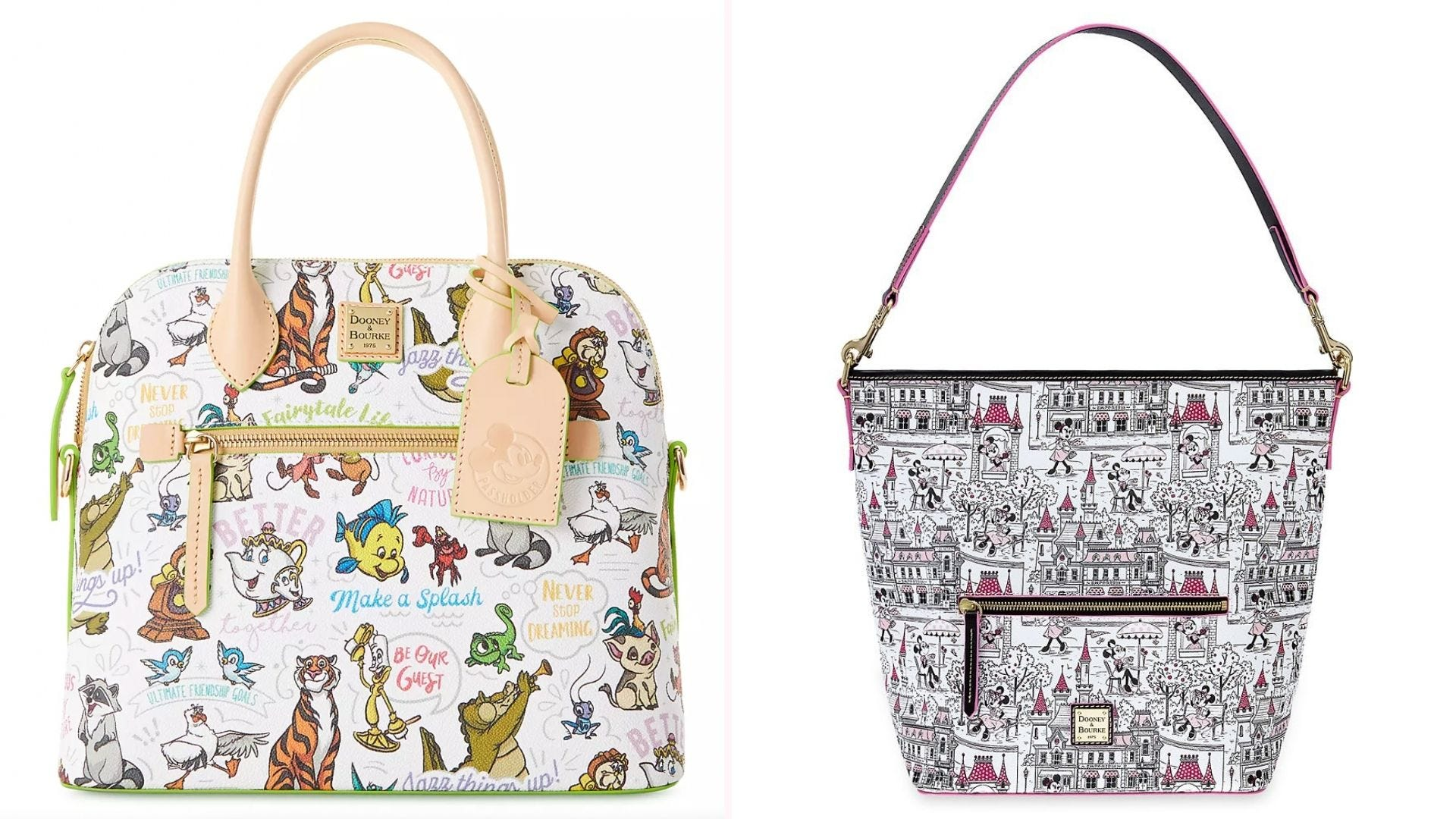 A purse printed with Disney characters; a purse with black and white Disney park cartoons
