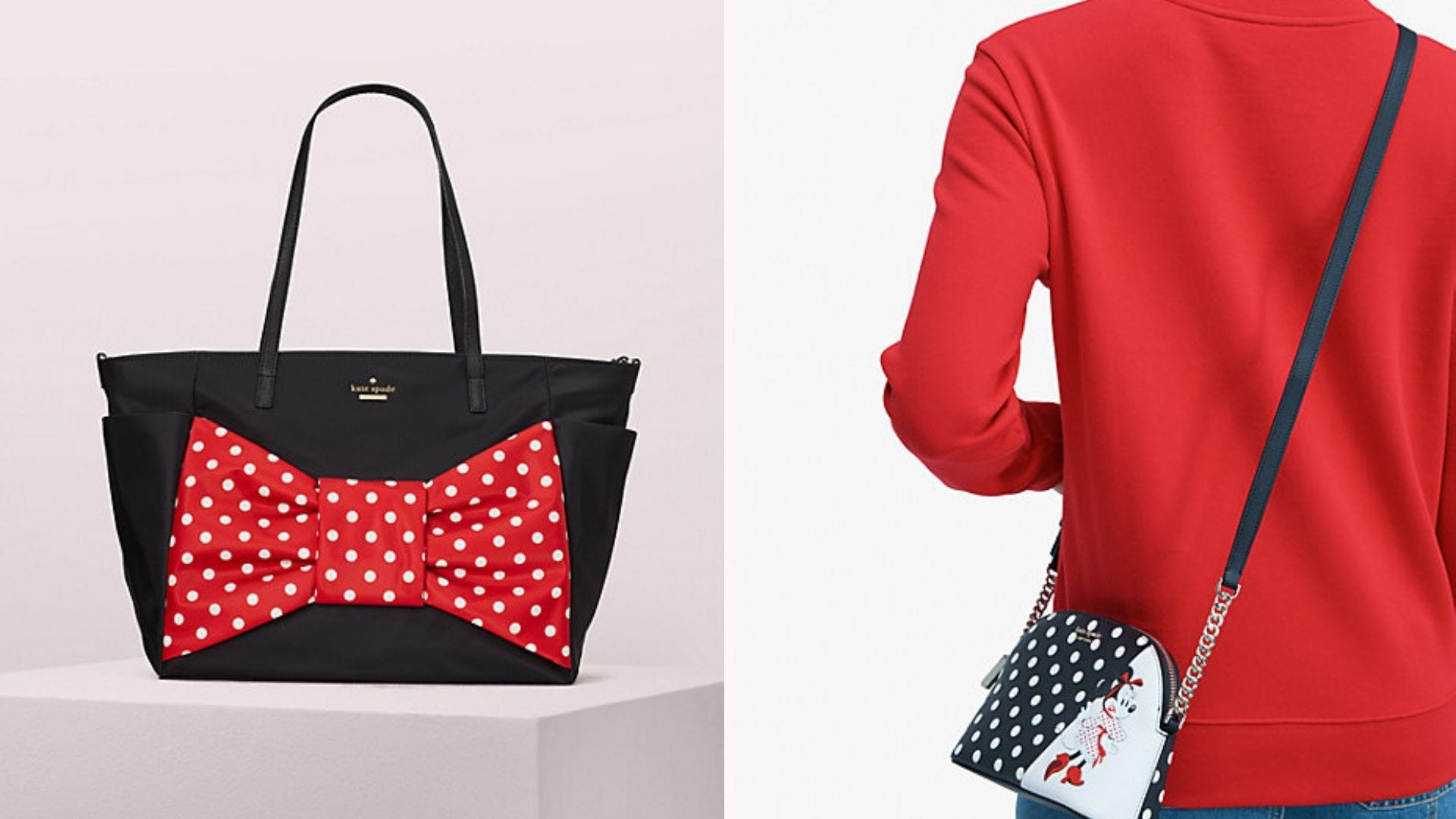 A black tote with a giant Minnie Mouse bow; a woman in a red sweater with a Minnie crossbody purse