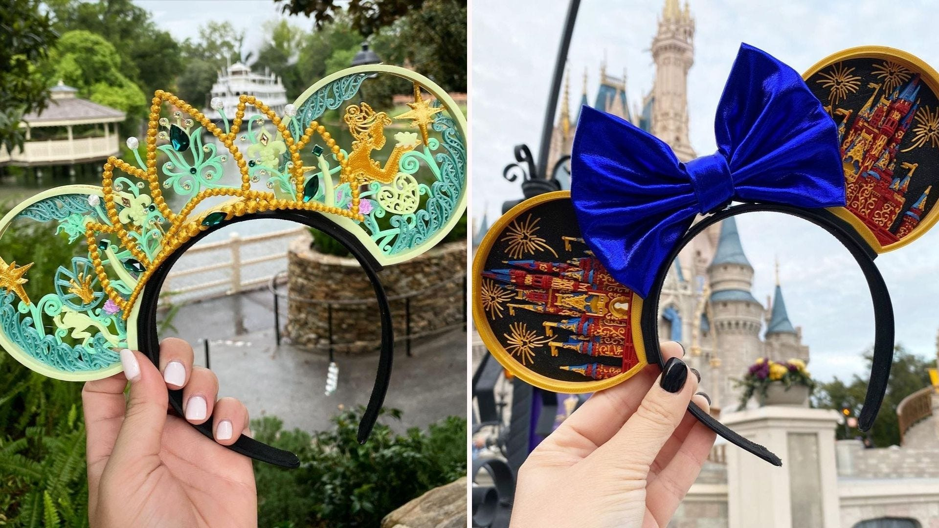A green pair of Mickey Ears depicting Princess and the Frog scenes; a pair of ears with the Disney castle and a blue bow