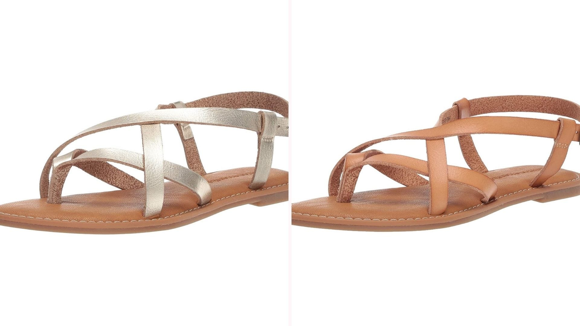 Two strappy flat sandals, one with gold metallic straps, one with tan straps