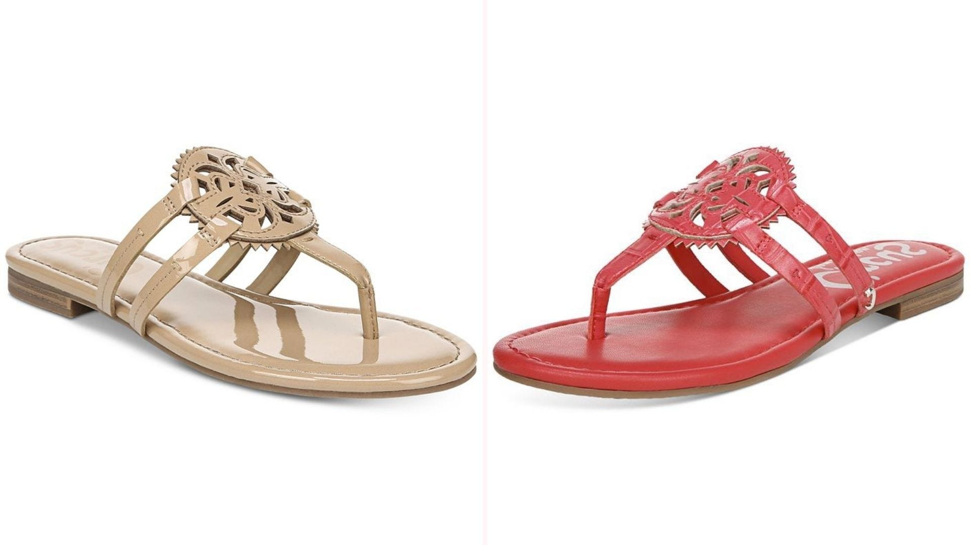 Two patent leather sandals with a medallion design, one beige and one coral colored