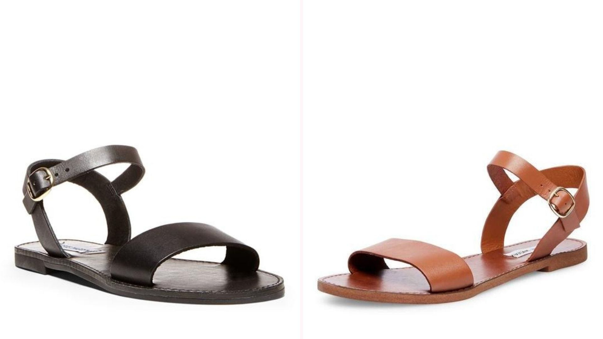 One black sandal and one brown sandal