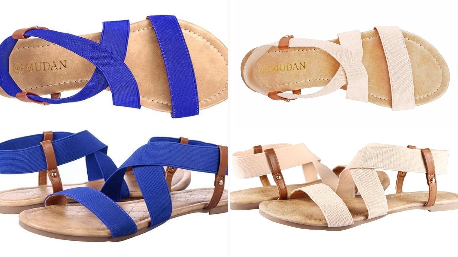 A blue pair of sandals; a pale pink-ish pair of sandals