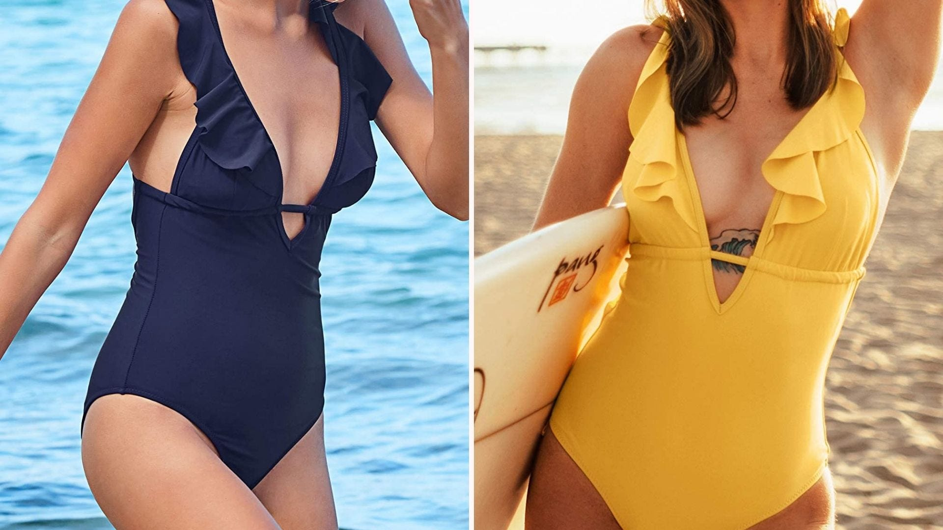 A woman in a navy blue one-piece swimsuit with a deep V-neck; a woman in the same suit, but in yellow