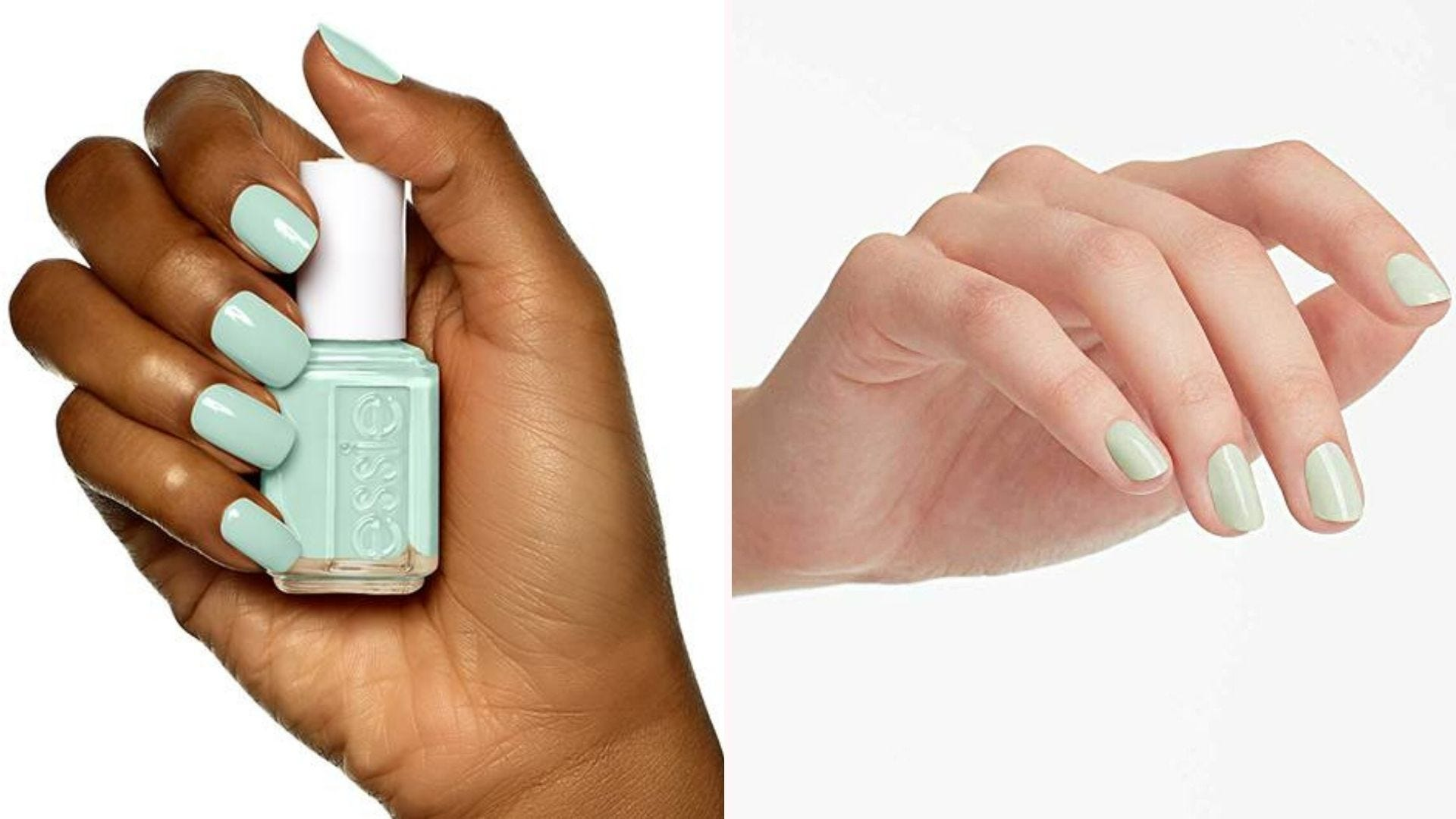 A dark-skinned hand with mint green nail polish and a bottle of the polish; a light-skinned hand with pale green nails