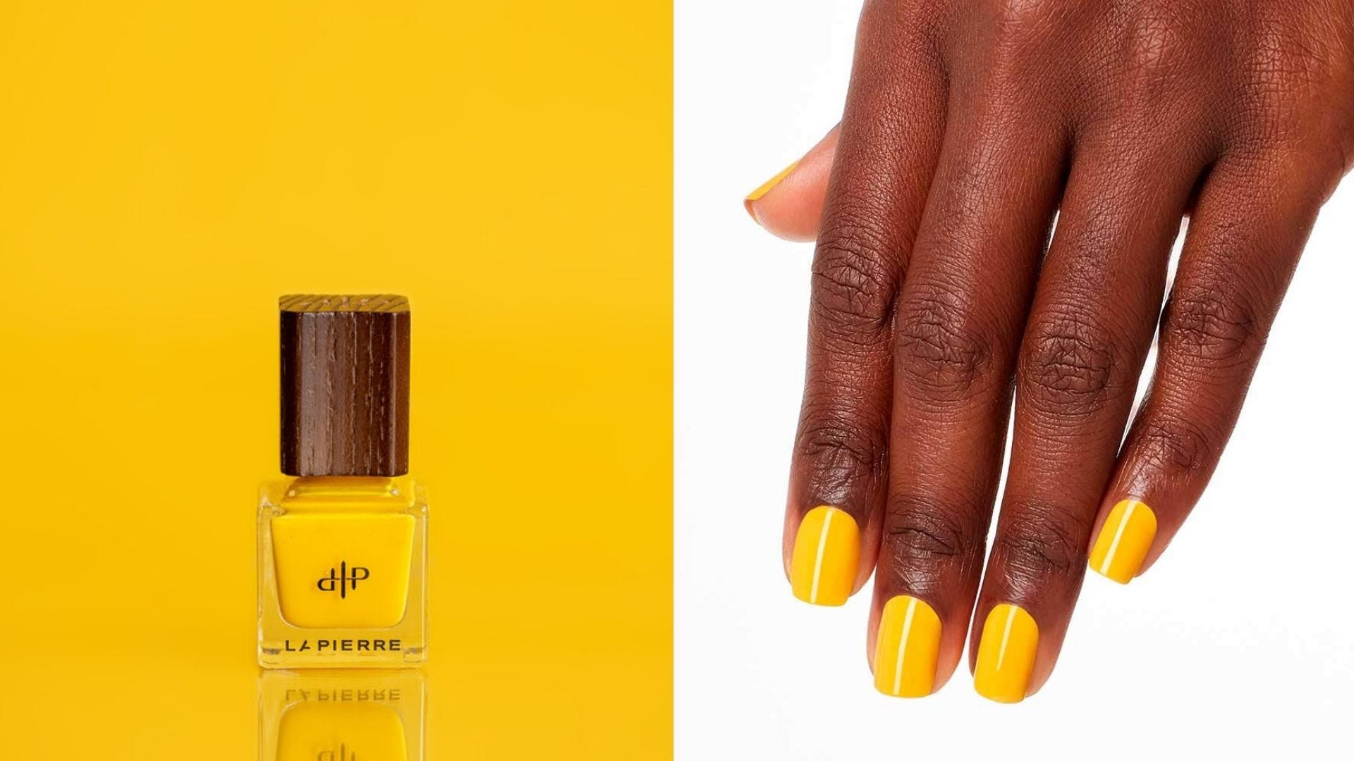 A bottle of golden yellow nail polish; a dark-skinned hand with golden yellow nails